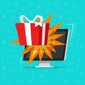 Online-geschenkbox oder gewinn von computer-monitor flache karikatur