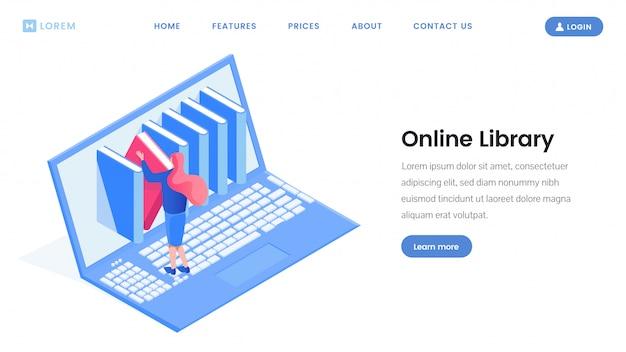 Online-gestaltung der zielseite der bibliothek