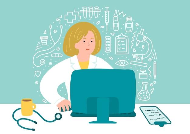 Online-gesundheitsberatung. ärztin, die nahe computer mit gekritzel des gesundheitswesens sitzt.