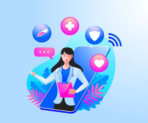 Online-gesundheitsberatung mit einem mobilen smartphone