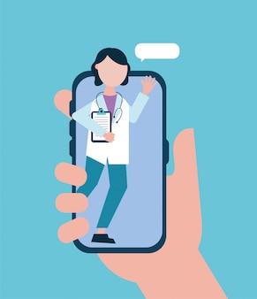 Online-gesundheitstechnologie mit arzt smartphone