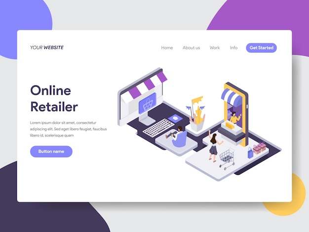Online-händler-illustration für webseiten