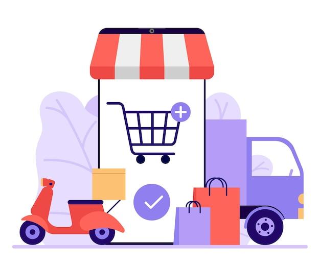 Online-handy-shopping-shop zum online-einkauf im geschäft warenlieferung mit auto und motorrad