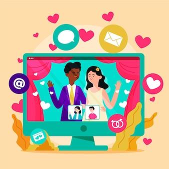 Online-hochzeitszeremonie mit computer