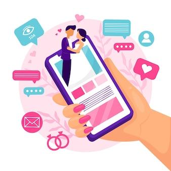 Online-hochzeitszeremonie mit smartphone