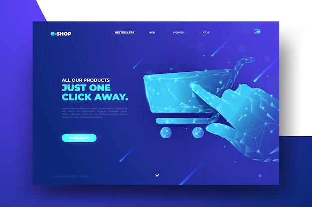 Online-homepage für futuristisches design-shopping