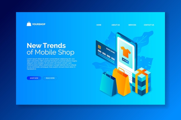 Online-homepage für isometrisches design-shopping