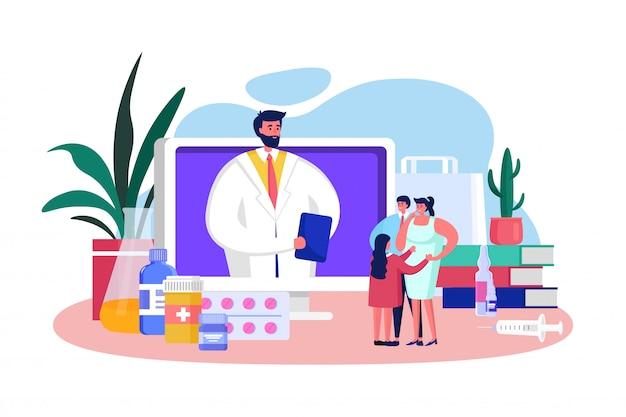 Online-illustration des hausarztes, beratung der zeichentrickfigur, beratung des kleinen vaters und der mutter unter verwendung des video-app-dienstes