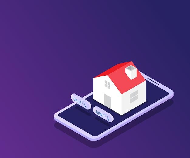 Online-immobilien-haus auf dem smartphone