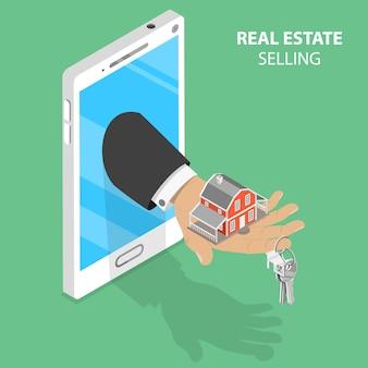 Online-immobilienverkauf isometrisches konzept.