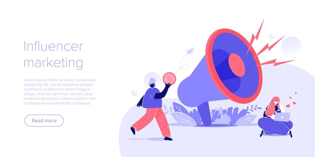 Online-influencer-marketingkonzept in flacher vektorillustration junge blogger-werbewaren über