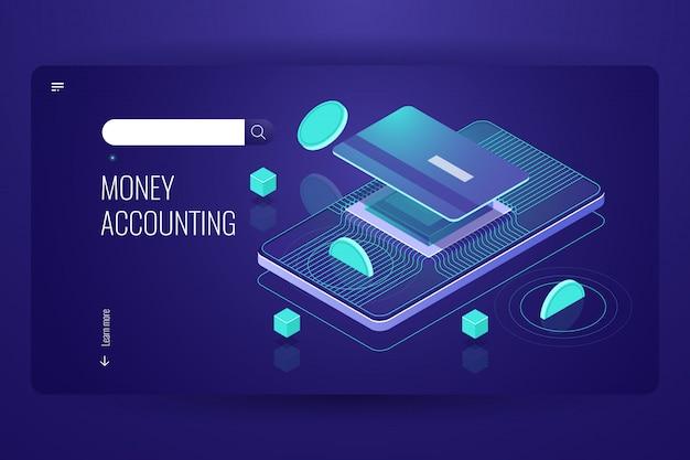 Online-internet-banking, mobile bank isometrisch, münze fällt auf kreditkarte
