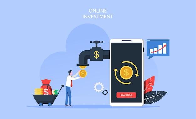 Online-investitionskonzept mit geschäftsmann, der geldmünzen von der smartphone-illustration nimmt.