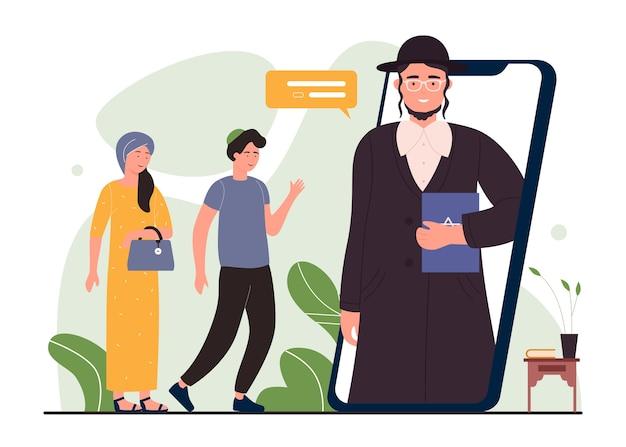 Online jüdische religion, cartoon frau mann charaktere treffen sich online mit synagoge rabbiner