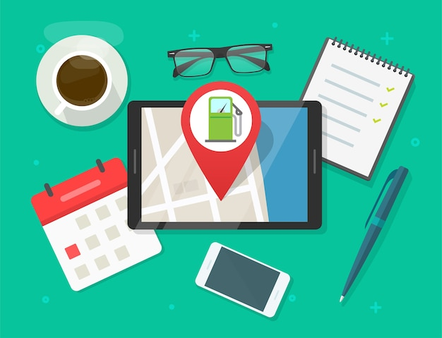 Online-karte und tankstelle-navigations-app für benzintank auf digitalem tablet, standort der tankstelle für benzin