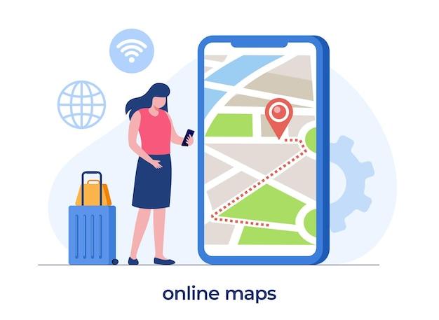 Online-kartentechnologie, mann mit smartphone, digitale karten, navigation und richtung, flache illustrationsvektorfahne