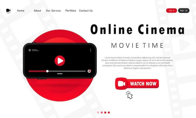 Online-kino-banner. filmzeit. filme zu hause auf dem handy anschauen. vektor auf weißem hintergrund isoliert. eps 10.