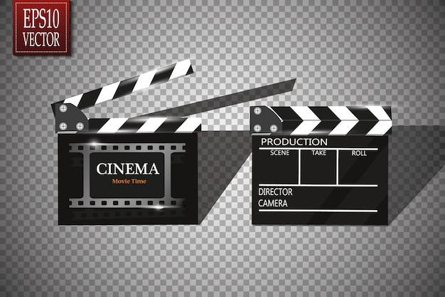 Online-kino hintergrund mit filmrolle und clapper board