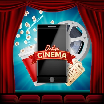 Online-kino mit smartphone. roter vorhang. theater. 3d-online-kino.