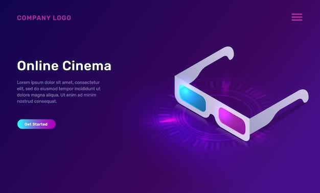Online-kino oder film, isometrisches konzept