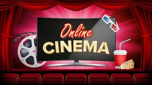 Online-kino-vektor. banner mit computerbildschirm. roter vorhang. theater, 3d-brille, filmstreifen-kinematographie.