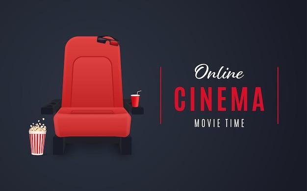 Online-kinoplakat oder hintergrundfilmplakat-vektorillustration
