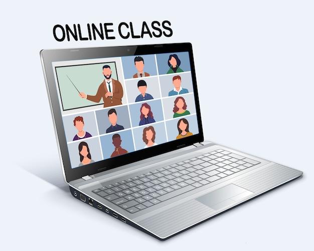 Online-klasse. schüler oder studenten, die zu hause mit dem computer lernen. bleib in der schule und lerne von zu hause aus per telefonkonferenz. videokonferenz auf dem laptop während der coronavirus-quarantäne. fernstudium