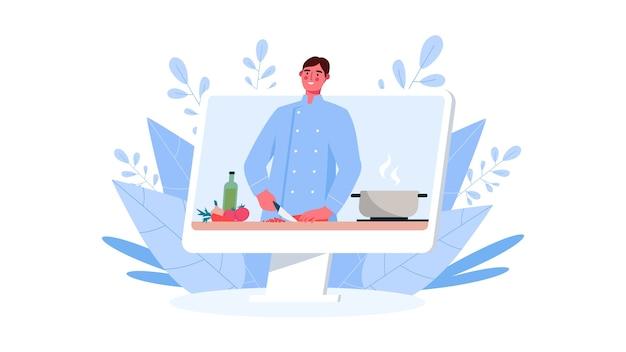 Online kochschule. koch unterrichtet kochen. videoanleitung. online-bildung, food blog, kanal.