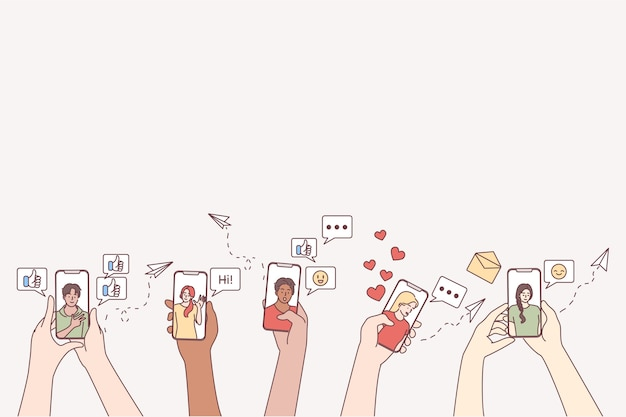 Online-kommunikation, dating, smartphone-konzept.