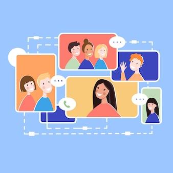Online-kommunikation des globalen menschenkonzepthintergrunds. flache illustration der online-kommunikation des globalen leutevektorkonzepthintergrundes für webdesign