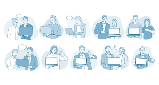 Online-kommunikation, laptop, business-team-konzept