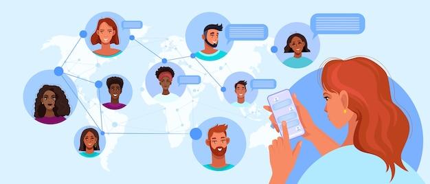 Online-kommunikation oder gruppenchat-illustration mit frau, die smartphone hält, verschiedene leute
