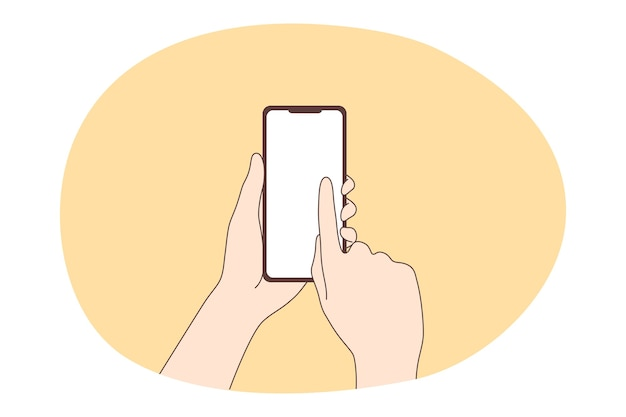 Online-kommunikation und smartphone-konzept. menschliche hände mit smartphone-touchscreen