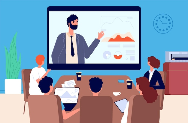 Online-konferenz. geschäftsbesprechung, kommunikation mit vorgesetzten oder teamleiter per video. isolationszeit, moderne arbeit