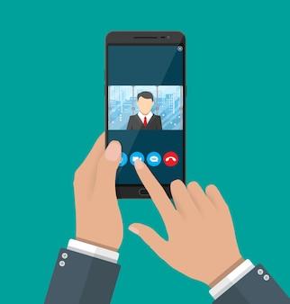 Online-konferenz. internet-meeting, videoanruf