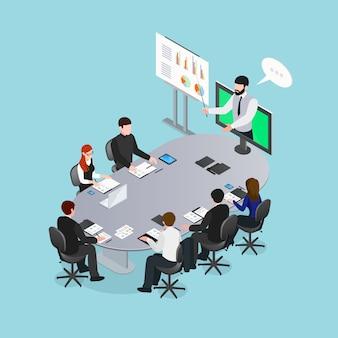 Online-konferenz isometrische illustration