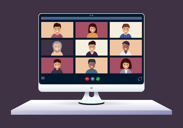 Online-konferenz. virtueller unterricht mit gruppe