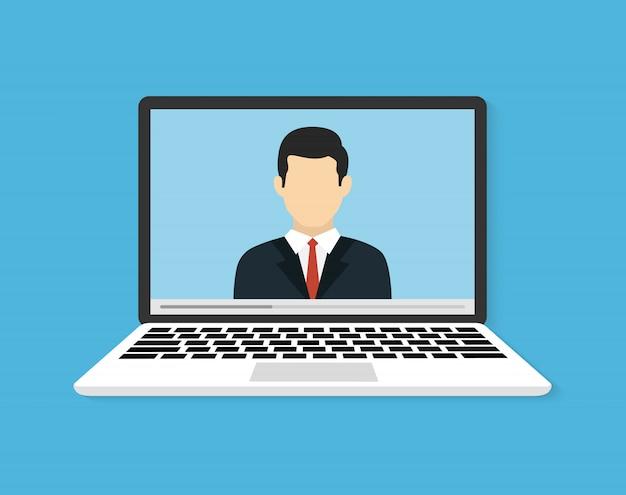 Online-konferenzen oder schulungen. illustration oder webinar zum online-lernen. flache vektor-illustration