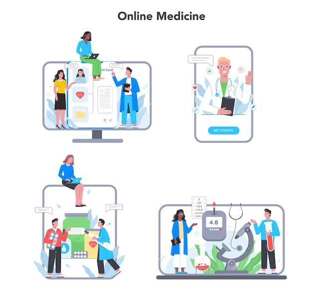 Online-konsultation mit dem arzt eingestellt. medizinische fernbehandlungsplattform für verschiedene geräte. mobiler dienst.