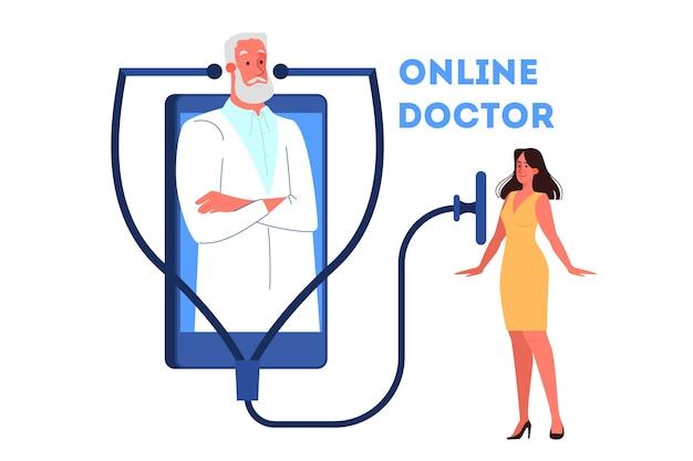 Online-konsultation mit dem arzt. medizinische fernbehandlung auf dem smartphone oder computer. mobiler dienst. illustration