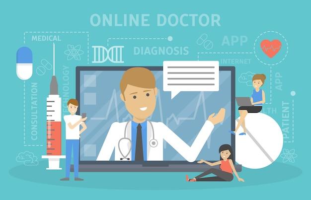 Online-konsultation mit dem arzt. medizinische fernbehandlung. mobiler dienst. illustration