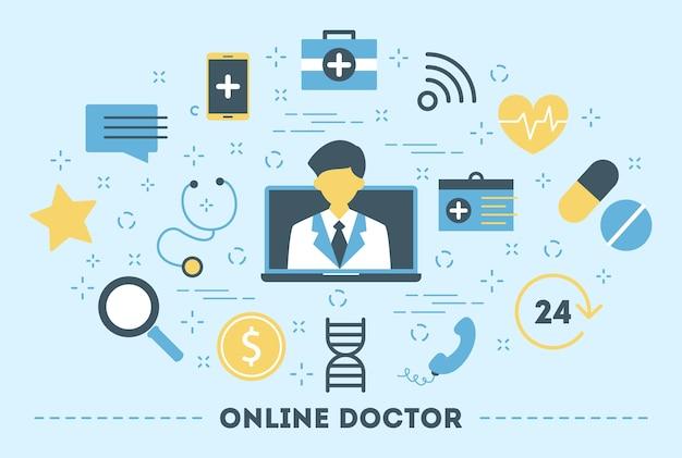 Online-konsultation mit dem arzt. medizinische fernbehandlung