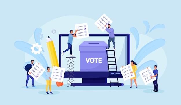 Online-konzept abstimmen. leute, die stimmzettel in die wahlurne auf dem computerbildschirm legen. online-umfrage, politische wahl oder umfrage, internet-wahlsystem