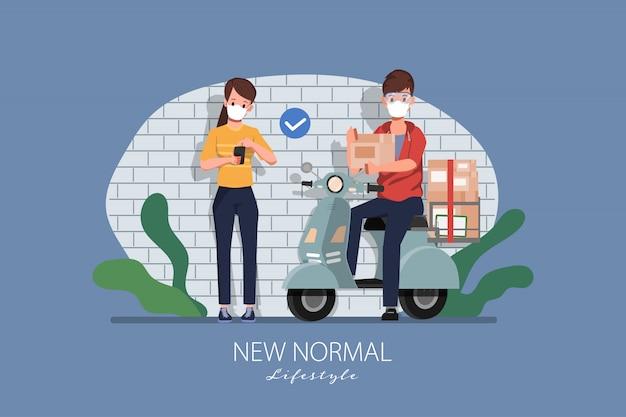 Online-konzept für kundeneinkäufe. bleiben sie zu hause und neuer normaler lebensstil zum einkaufen.
