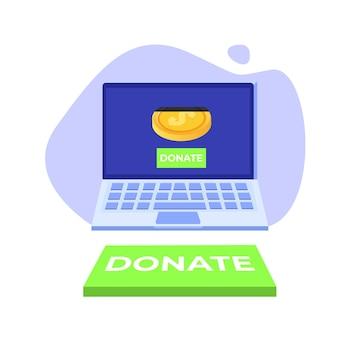 Online-konzept spenden. laptop mit goldmünzen und schlüssel spenden.