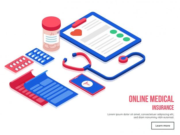 Online-krankenversicherung landing page design.