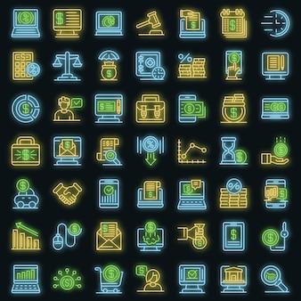 Online-kreditsymbole gesetzt. umrisse von online-kreditvektorsymbolen neonfarbe auf schwarz