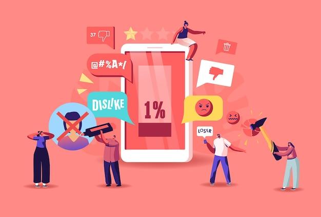 Online-kritik, konzept der belästigung durch soziale netzwerke. charaktere schikanieren in smartphones, die opfer belästigen, bedrohen und einschüchtern. cybermobbing, überschwemmungen. cartoon-menschen-vektor-illustration