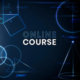 Online-kurs bildung vorlage vektor-technologie social media post