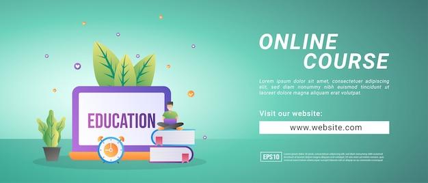 Online-kursbanner, lernen von zu hause aus über das internet. banner für werbemittel
